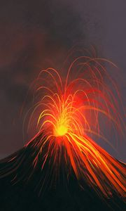 Preview wallpaper volcano, eruption, art