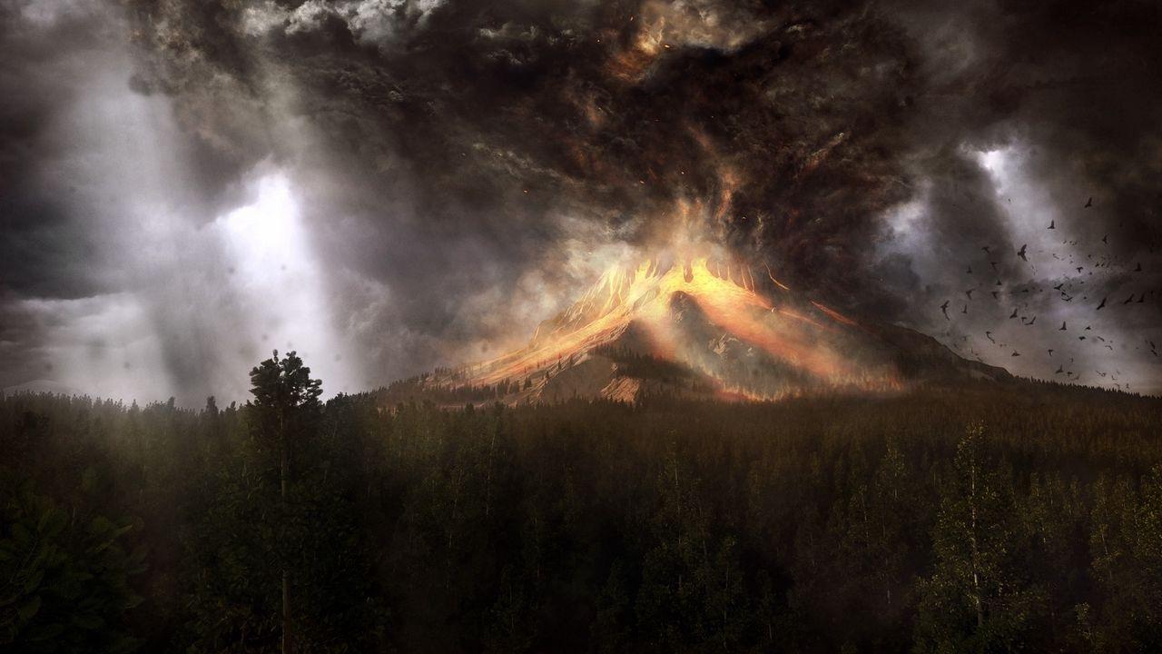 Wallpaper volcano, eruption, cataclysm, accident, lava, smoke, birds, art