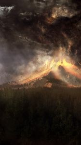 Preview wallpaper volcano, eruption, cataclysm, accident, lava, smoke, birds, art