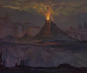 Preview wallpaper volcano, eruption, darkness, dark, art