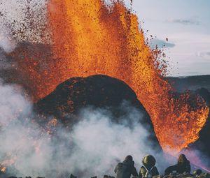 Preview wallpaper volcano, eruption, explosion, lava