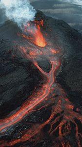 Preview wallpaper volcano, eruption, lava, crater