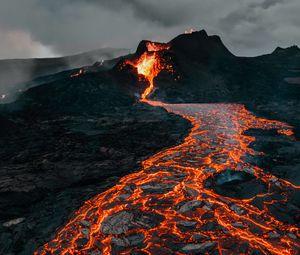 Preview wallpaper volcano, eruption, lava, stones, hot