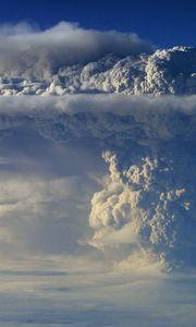 Preview wallpaper volcano, eruption, sky, smoke, column, clouds, height