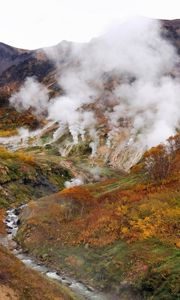 Preview wallpaper volcano, eruption, steam, smoke, mountains