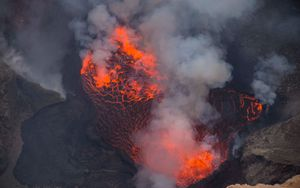 Preview wallpaper volcano, lava, eruption, smoke, ash, hot, crater