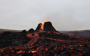 Preview wallpaper volcano, lava, eruption, spray, hot
