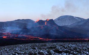Preview wallpaper volcano, lava, eruption, smoke, nature