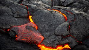 Preview wallpaper volcano, lava, surface, fiery, bumps