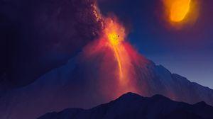 Preview wallpaper volcano, mountain, art, stones, lava