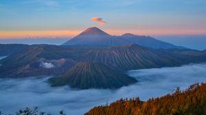 Preview wallpaper volcano, mountains, bromo tengger semeru national park, semeru, indonesia
