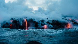 Preview wallpaper volcano, sea, lava