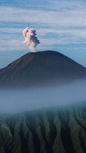 Preview wallpaper volcano, smoke, eruption, crater, mountain