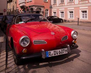 Preview wallpaper volkswagen, car, red, retro