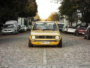 Preview wallpaper volkswagen, golf, mk1, yellow, front view