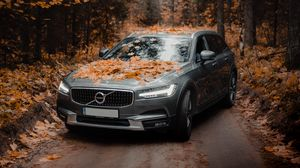 Preview wallpaper volvo, car, gray, forest, autumn