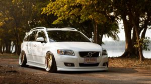 Preview wallpaper volvo, v50, tuning, white, front view