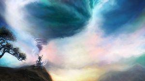 Preview wallpaper vortex, magic, art, hills, sky