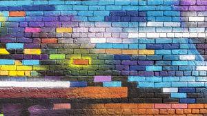 Preview wallpaper wall, brick, colorful, paint, street art, graffiti