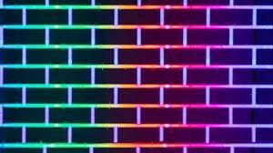 Preview wallpaper wall, brick, neon, glow, multicolored