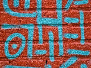 Preview wallpaper wall, bricks, graffiti, texture, red, blue