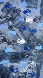 Preview wallpaper wall, hands, prints, texture, blue