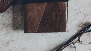 Preview wallpaper wallet, leather, glasses, marble, surface