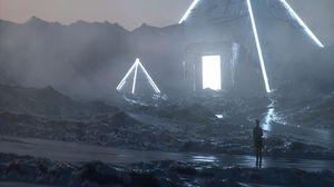 Preview wallpaper wanderer, silhouette, pyramids, neon, fantasy