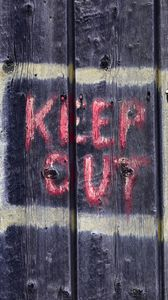 Preview wallpaper warning, words, inscription, fence, wood, boards
