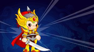 Preview wallpaper warrior, costume, colorful, background