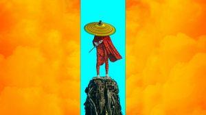 Preview wallpaper warrior, hat, sword, sci-fi, art