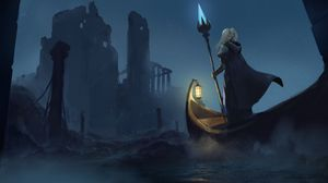 Preview wallpaper warrior, staff, boat, fantasy, art