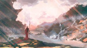 Preview wallpaper warrior, halberd, landscape, art
