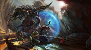 Preview wallpaper warriors, cave, armor, battle, art, fantasy