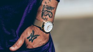 Preview wallpaper watch, tattoo, arm, suit