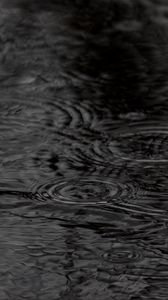 Preview wallpaper water, circles, waves, rain, black and white