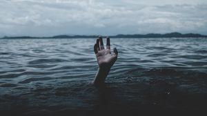 Preview wallpaper water, hand, sea, horizon