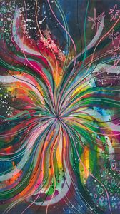 Preview wallpaper watercolor, lines, multicolored, rainbow