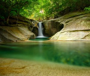 Preview wallpaper waterfall, cliff, stone, water, trees, forest