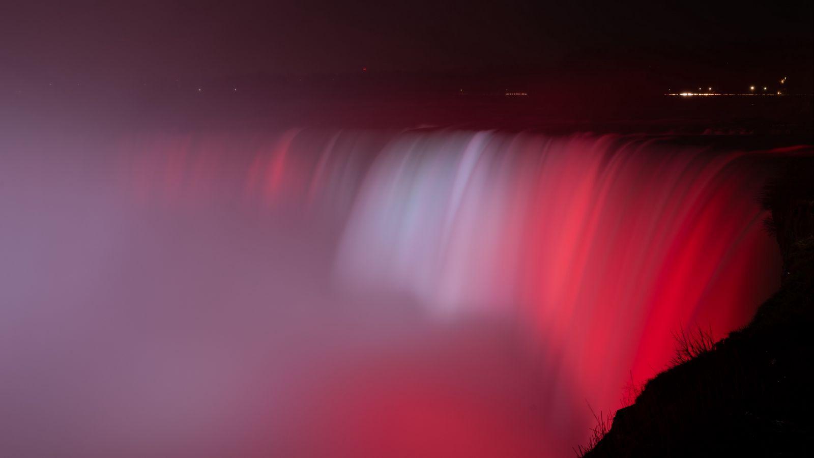 1600x900 Wallpaper waterfall, fog, backlight, red, dark