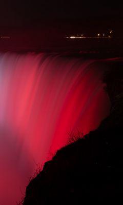 240x400 Wallpaper waterfall, fog, backlight, red, dark