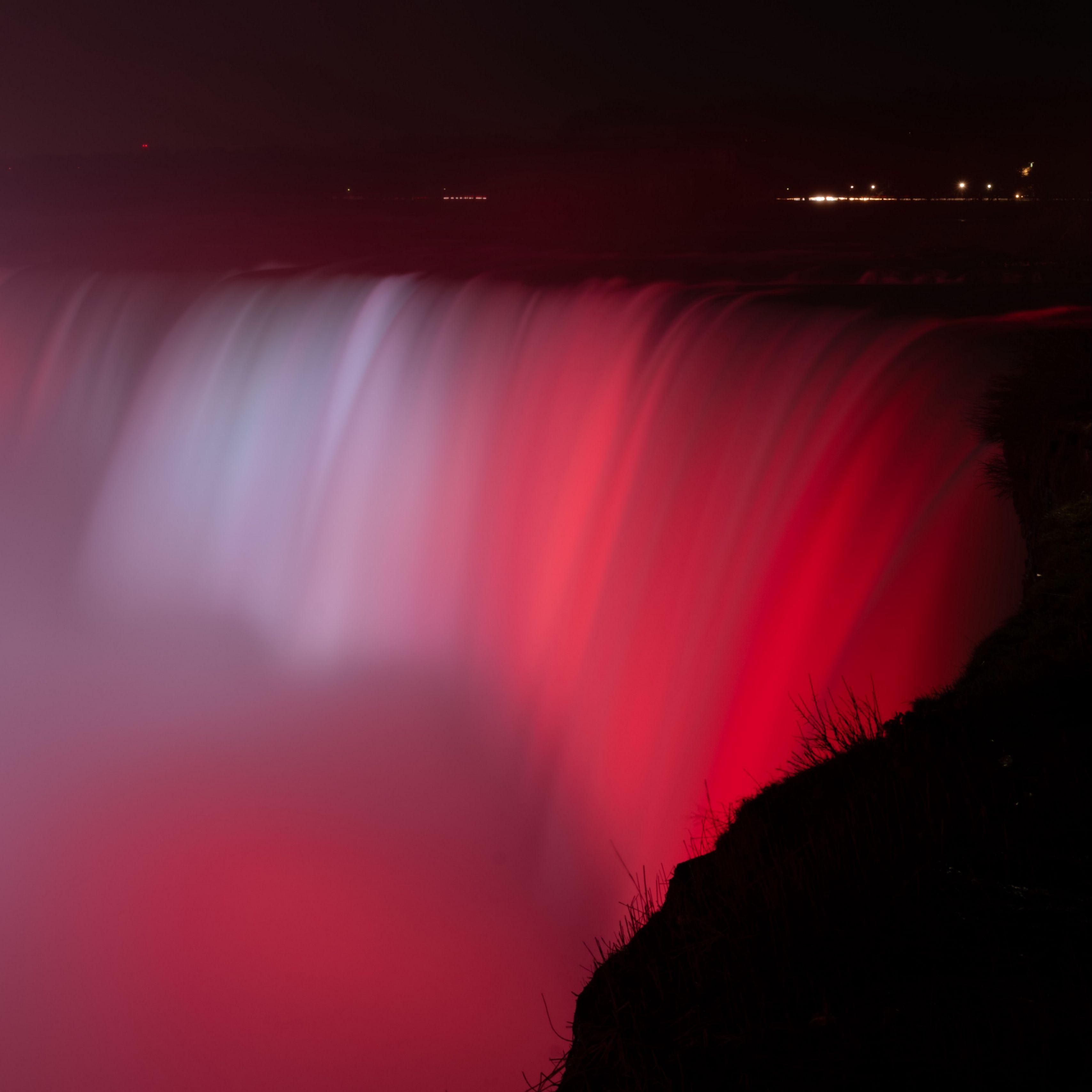 3415x3415 Wallpaper waterfall, fog, backlight, red, dark