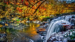 Preview wallpaper waterfall, forest, river, nature