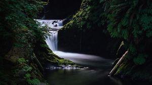 Preview wallpaper waterfall, grass, dark, nature