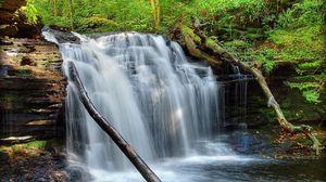 Preview wallpaper waterfall, grass, moss, river