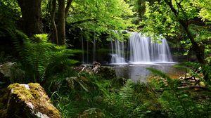 Preview wallpaper waterfall, grass, nature, shadow