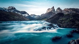 Preview wallpaper waterfall, lake, rocks, torres del paine, national park, chile