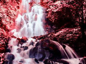Preview wallpaper waterfall, photoshop, stones, current, red