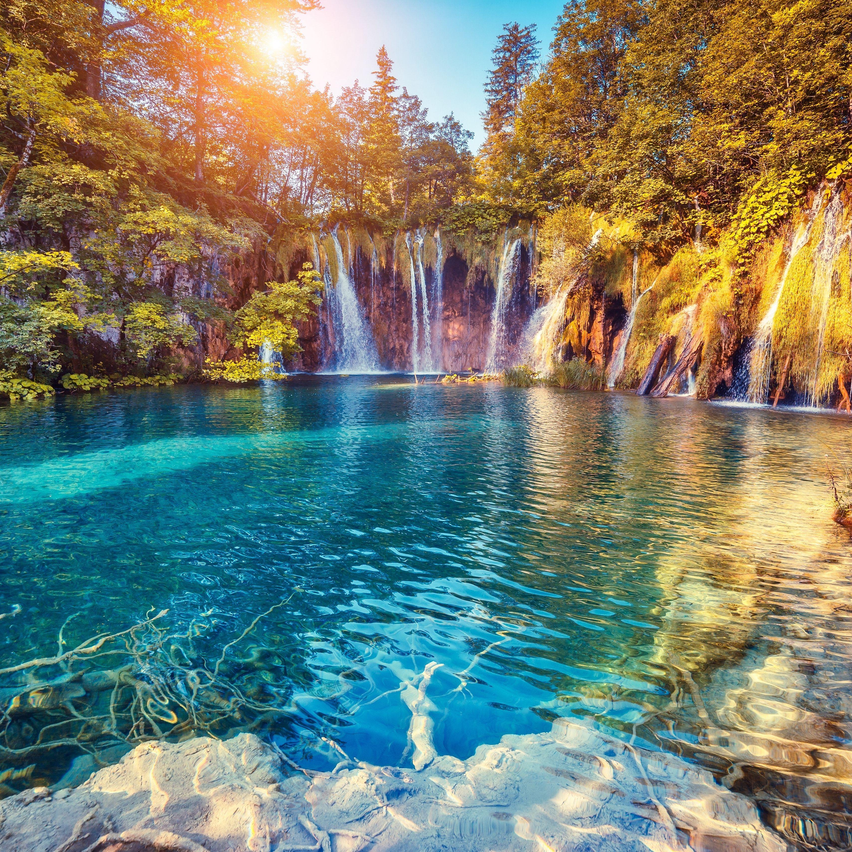 3415x3415 Wallpaper waterfall, precipice, sunlight, summer, bright, trees