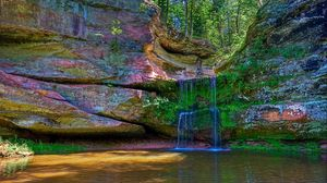 Preview wallpaper waterfall, river, colored, stones